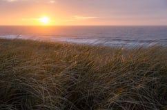Coucher du soleil à la Mer du Nord Photos stock