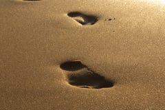 Coucher du soleil à la mer Empreintes de pas dans le sable La mer, égalisant Calmez vers le bas Reste sur la mer Photos libres de droits