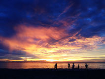 Coucher du soleil à la plage Image libre de droits