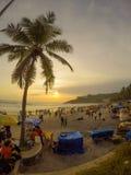 Coucher du soleil à la plage Photos libres de droits