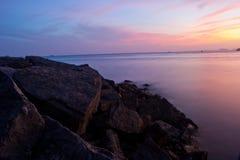 Coucher du soleil à la plage d'aonag Images libres de droits