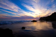 Coucher du soleil à la plage d'EL Matador photo libre de droits