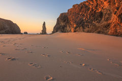 Coucher du soleil à la plage de Bandon Images libres de droits