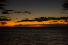 Coucher du soleil à la plage de Kaanapali Image libre de droits
