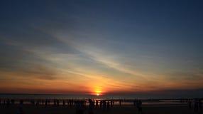 Coucher du soleil à la plage de Mindel, Australie images stock