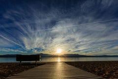 Coucher du soleil à la plage de Navada, le lac Tahoe Photos libres de droits