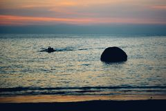 Coucher du soleil à la plage de Palolem, Goa Images stock