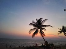 Coucher du soleil à la plage de Pattaya Images stock