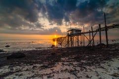 Coucher du soleil à la plage de punggor Image libre de droits