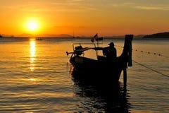 Coucher du soleil à la plage de Railay occidentale Photos stock