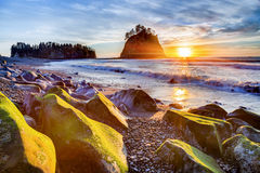 Coucher du soleil à la plage de Rialto image libre de droits