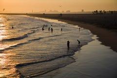 Coucher du soleil à la plage de sceau Photos stock