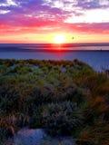Coucher du soleil à la plage, Hollande/Pays-Bas Photos stock