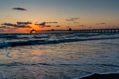 Coucher du soleil à la plage impériale, CA image stock