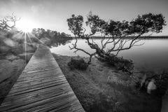 Coucher du soleil à la promenade de lac Merimbula, Victoria, Australie photo stock