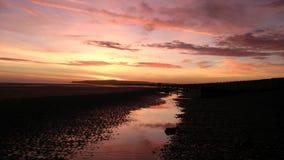 Coucher du soleil à la réserve naturelle de port de Rye photos stock