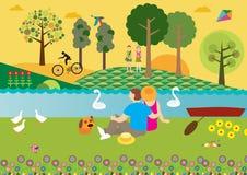 Coucher du soleil à la rivière Images libres de droits