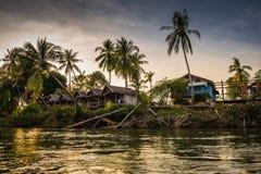 Coucher du soleil à la rivière de Mekhong Photographie stock libre de droits
