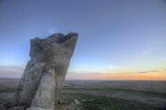 Coucher du soleil à la roche de Teter, Flint Hills, le Kansas Image stock