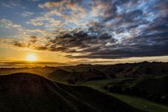 Coucher du soleil à la route oubliée de nouveau Plymouth Photographie stock