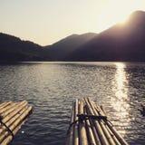 Coucher du soleil à la vallée de KraTing Photos stock