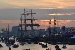 Coucher du soleil à la voile 2015 dans le port d'Amsterdam Images libres de droits