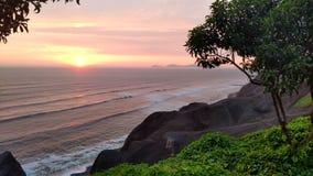 Coucher du soleil à Lima Photographie stock libre de droits