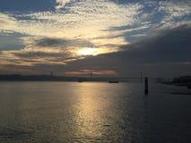 Coucher du soleil à Lisbonne Images stock