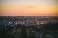 Coucher du soleil à Lviv Photos stock