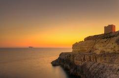 Coucher du soleil à Malte Photos libres de droits