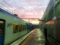 Coucher du soleil à Melbourne Photos stock