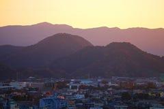 COUCHER DU SOLEIL À MISHIMI AU JAPON Photo libre de droits