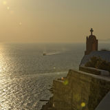Coucher du soleil à Oia photographie stock libre de droits