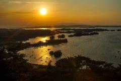 Coucher du soleil à Oku-Matsushima Photographie stock libre de droits