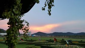 Coucher du soleil à Pattaya, Thaïlande Photos stock