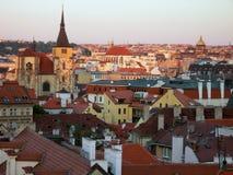 Coucher du soleil à Prague Images libres de droits