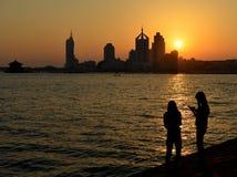 Coucher du soleil à Qingdao Photo stock
