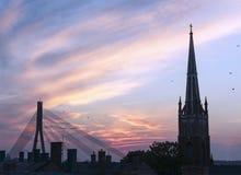 Coucher du soleil à Riga Photos stock