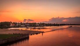 Coucher du soleil à Riga, Lettonie Photos libres de droits