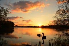 Coucher du soleil à un lac photographie stock libre de droits