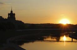 Coucher du soleil à Vilnius Images libres de droits