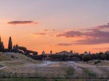 Coucher du soleil étonnant d'été à Rome photographie stock