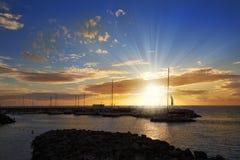 Coucher du soleil étonnant dans Ténérife images libres de droits