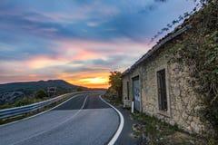 Coucher du soleil étonnant de Sicile Image libre de droits