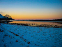 Coucher du soleil étonnant près du Pôle Nord image libre de droits