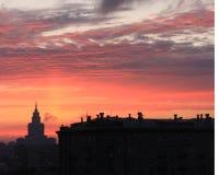 Coucher du soleil 0ver Moscou Images libres de droits