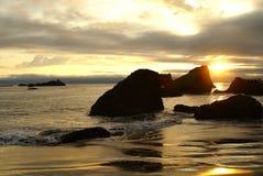 Coucher du soleil 3 de côte de l'Orégon Photo libre de droits