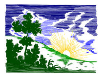 Coucher du soleil abstrait. illustration stock