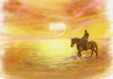 Coucher du soleil abstrait, conduisant sur une illustration de cheval