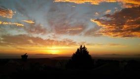 Coucher du soleil africain au-dessus de montagne de Tableau photographie stock libre de droits